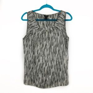 Ann Taylor Factory Gray Silver Pleated Neck Tank